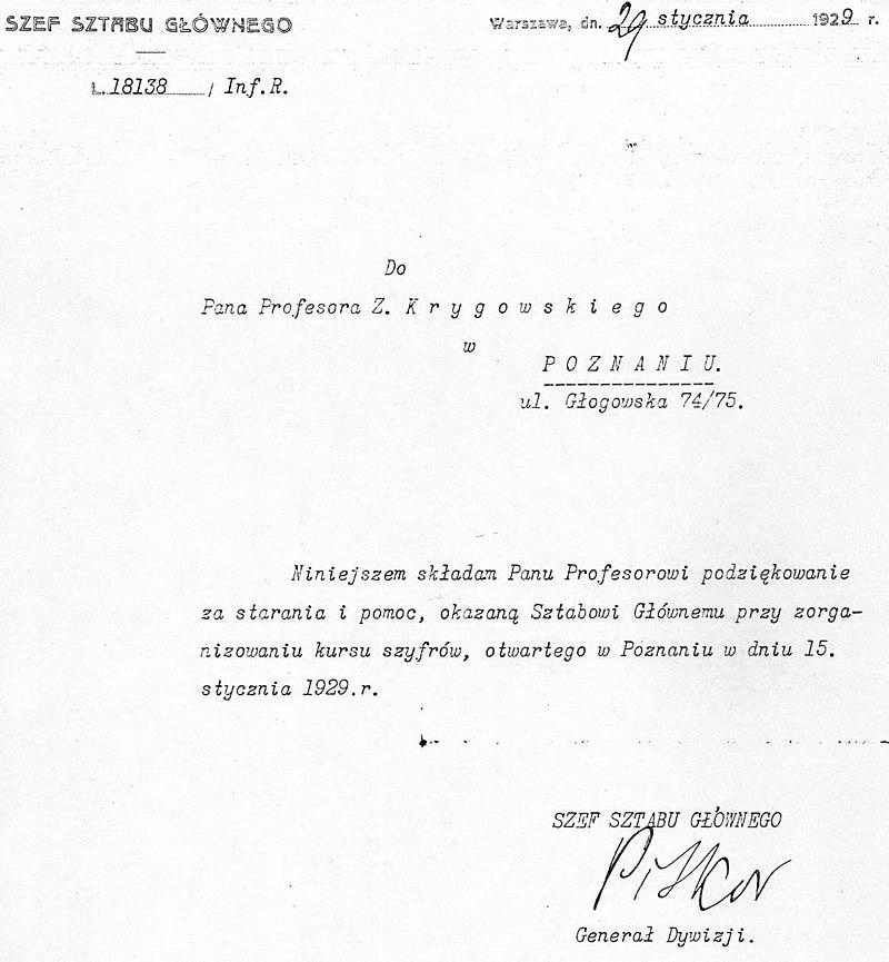 Oficjalne podziękowania dla profesora Krygowskiego za pomoc w organizacji Kursu Szyfrów.
