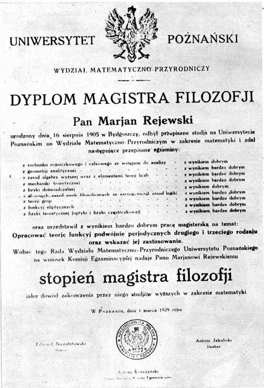 Dyplom Mariana Rejewskiego.